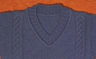 Часть 8. Пуловер с косами для мальчика. Расчет, вязание и обработка V образного выреза.